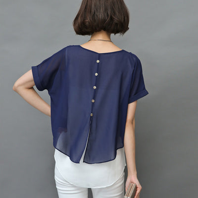 Blouse Short Sleeve Chiffon Two Piece Blouse Plus Size 4XL