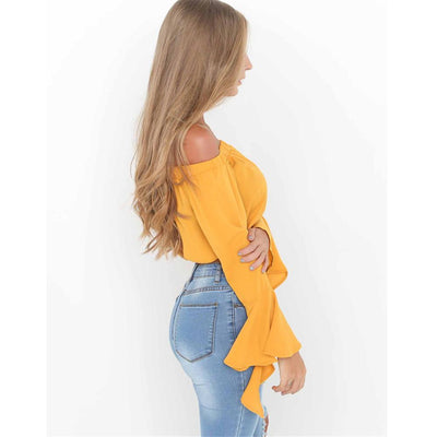 Strapless Blouse Tube Top Ruffle Sleeve Sexy Crop Tops Solid Off Shoulder Tops