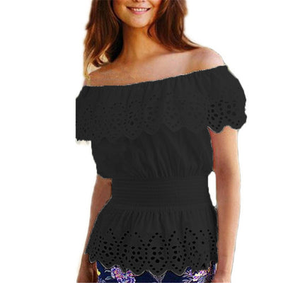Sexy Slash Neck Blouse Top Casual Strap Off Shoulder Lace Ruffles Elastic Waist Tunic Shirts