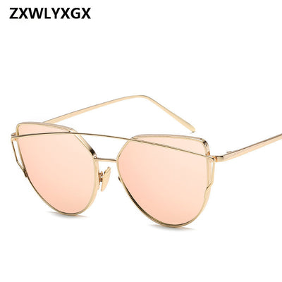 Sunglasses Women Luxury Cat eye Brand Design Mirror  Rose New Gold Vintage