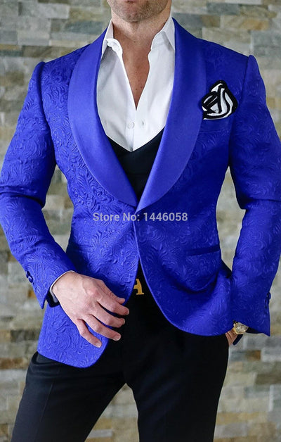 Tailored Navy Blue Paisley Floral Suits Slim Fit 3 Piece Custom Made Blazer