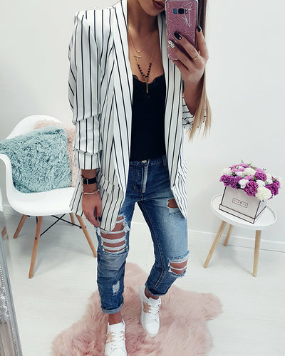 Chifave Fashion Cuff Folds black white striped Outwear Casual Slim Jackets