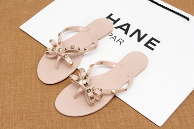 585728e2c Flat jelly bow V flip flops stud beach rivets slippers Thong sandals nude.  Live a Classic Styles