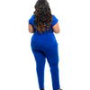 Women plus size loose sleeveless casual deep v-neck solid bodycon pants