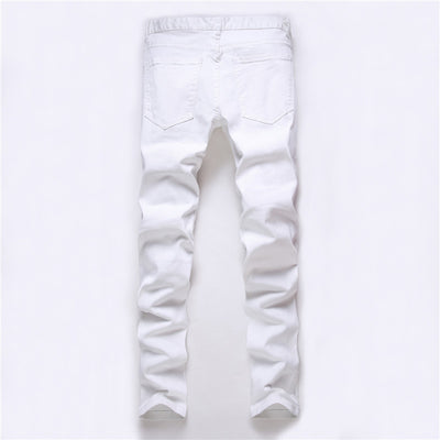 High street men's jeans zipper knee knocked ragged hole