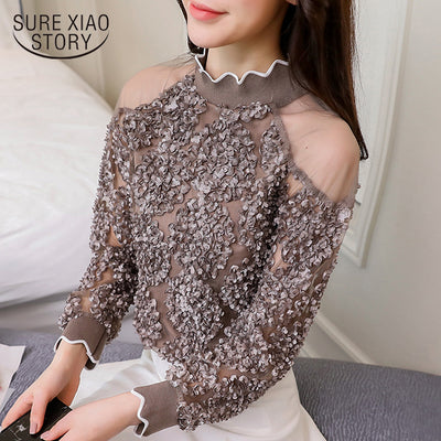 Women tops long sleeved blouses lace patchwork sexy style female shirts