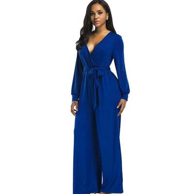Sexy V neck Wide Leg Elegant Blue Long Sleeve Plus Size Jumpsuit/romper