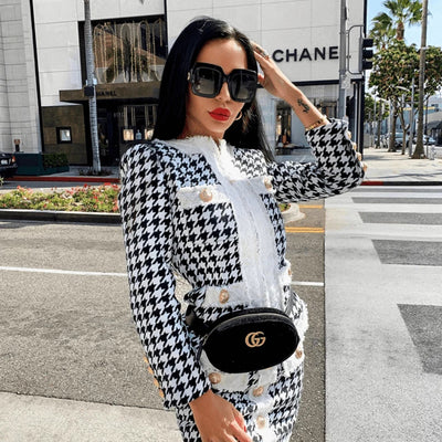 Sexy Plaid Long-Sleeved Top And Mini Dress 2 Piece Two-Piece Set Button Bodycon Club Party Set