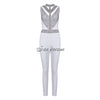 Sleeveless Turtleneck Neck Bandage Sexy Bodycon Beading White Jumpsuits