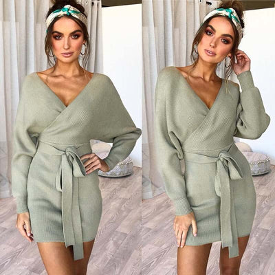 Sweater Long Winter Knitted Dress V Neck Loose Warm Women Pullover Sweater