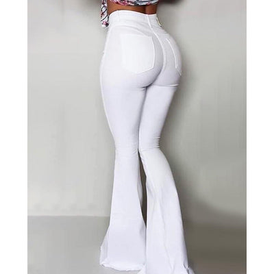 Buttoned Bell-Bottom High Waist Solid slim fit white flare Elegant pants