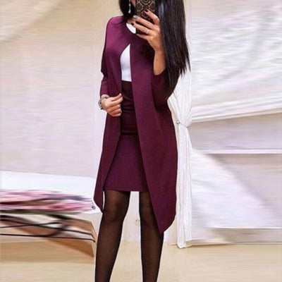 One Button Notched Striped Blazer Jackets And Slim Mini Skirts Two Pieces Sets suit
