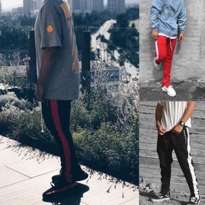 Zipper Pocket Track Pants Long Dawstring Striped Patchwork Casual Retro Trousers Man Pants
