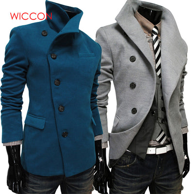Single -Breasted Lapel Oblique Placket Wool Clothing Coats Jacket Strench
