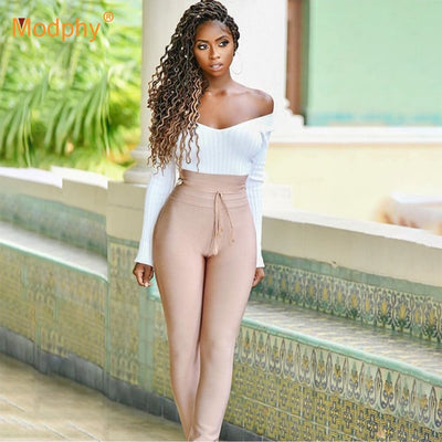 High Waist Bandage Slim Stretch Pencil Rayon Bandage Tassel Sexy Bodycon Pants