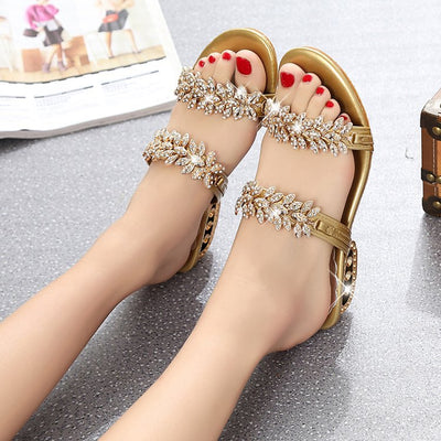 Rhinestone outdoor slippers flip flops shoes