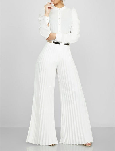 Pleated Wide Leg Elegant Long Trousers Loose High Waisted Palazzo Pants