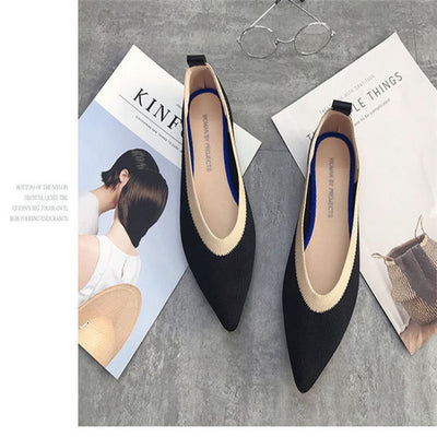 Pointed Toe flats Ballet  Breathable Knit