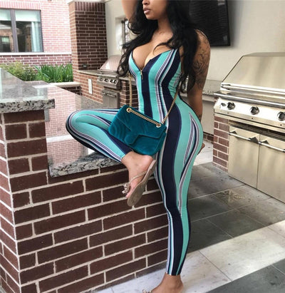 Sexy Sleeveless Strap Striped Bodycon Slim Backless Jumpsuit Casual Rompers Trousers