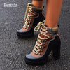 Platform Ankle Thick Heel Platform Boots Ladies Worker Boots Black Brown Shoes