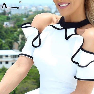 Elegant Leisure Casual Top Sleeveless Stand Collar Shirt Contrast Binding Ruffles Trim White Blouse