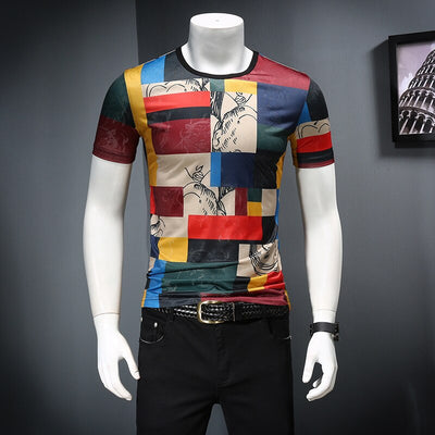 Ice Felt Short Sleeve Club Party Design Print Summer Breathable Casual T-shirt streetwear tops