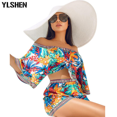 Sexy Leaf Print Beach Bohemian Three Quarter Sleeve Off Shoulder Top Shorts Suit Tracksuit Playsuit
