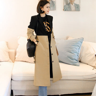 Black khaki patchwork color block long trench single breasted notched collar belt elegant coats