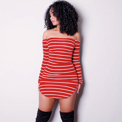 Slash Neck Mini sexy bodycon party club night Striped Print dresses