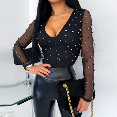 Sexy Beading Mesh See Through Low Cut Skinny Long Sleeve Blouse Sexy Tops Long SleeveShirt