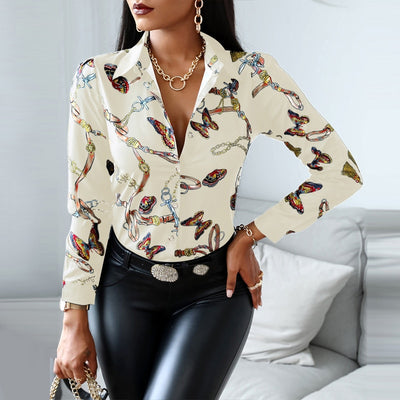 Fashion Trend Slim V-neck Shirt Contrast Color Long-sleeved Top High-waist Tight-fitting Printing Wear blouse