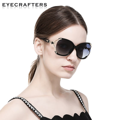Luxury Brand Designer oversized Gradient Polarized Sunglasses Floral