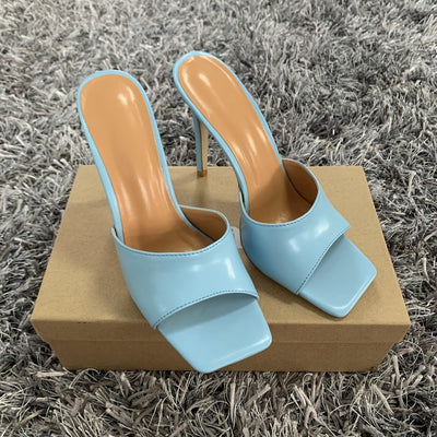 Square Toe Ladies Heel Mules Sexy Thin High Heels Sandals Slippers Shoes 11CM