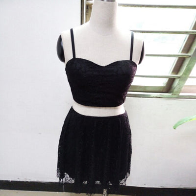 White black sleeveless backless Sexy 2 Two Pieces Lace Spaghetti Strap V Neck Mini dresss