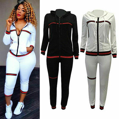 Tracksuit Hoodies Striped Sweatshirt Tops+Long Casual Pants Sportswear Tracksuit Set