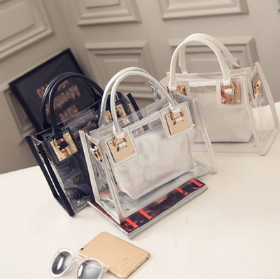 2pcs Clear Transparent Shoulder Bag Jelly Candy Summer Beach Handbag
