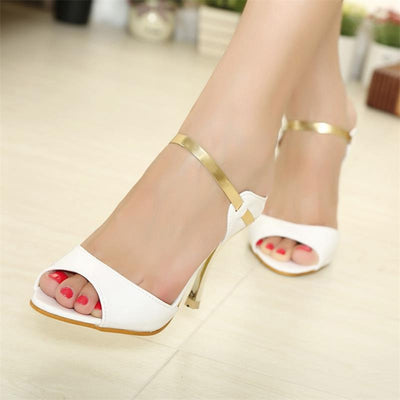 456 Peep Toe Pumps Gold Silver Thin Heels Sandals Summer Women Shoes