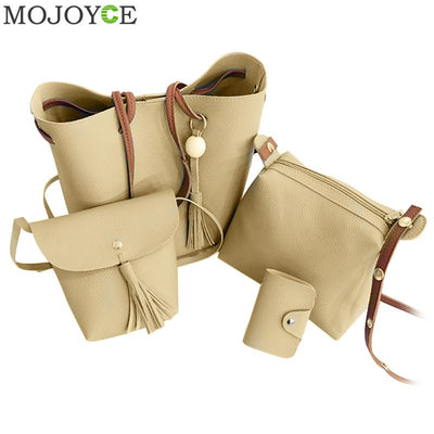 4pcs/Set Fashion Women Composite Bag Tassel Pure PU Leather Shoulder