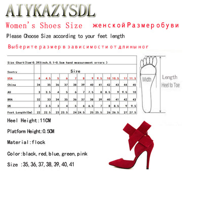 AIYKAZYSDL Big Bowtie Bow Pumps High Heel Woman Sandals Stiletto