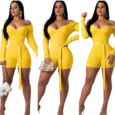 Adogirl Sexy Off Shoulder Knitted V Neck Long Sleeve Slim Shorts Jumpsuit Knitting Romper Bodysuits