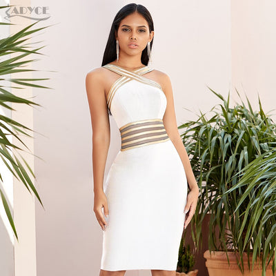 Adyce Halter Lace Bandage Sexy Hollow Out Bodycon Club Celebrity Evening Runway Party Dress
