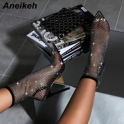 Aneikeh Crystal Mesh Boots PVC Runway High Heels Thin Heels Pumps Sexy Sandals Boot