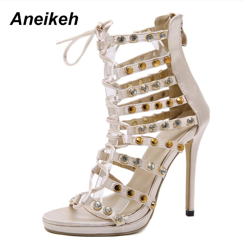 09ec811ee Aneikeh Sexy Rivet Crystal Thin High Heels Gladiator Hollow out Lace-Up  Shoes