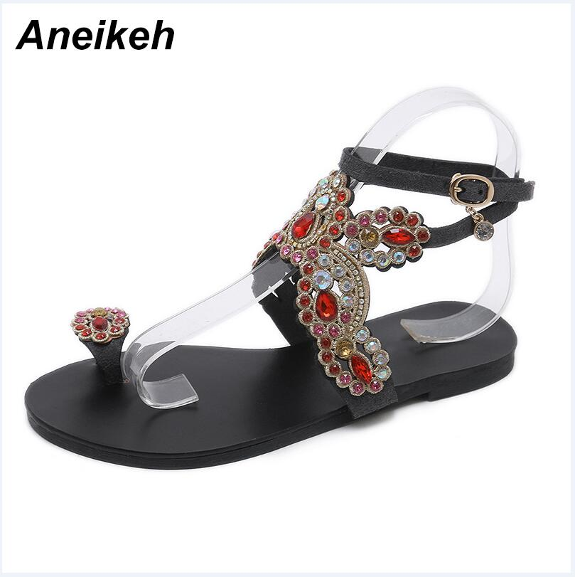 ff817fc99 Aneikeh Bling Bling Colorful Rhinestone Butterfly Sandals Crystal Flats