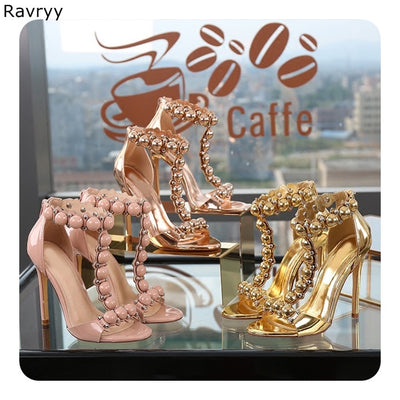Ankle Strap golden high heel rivets open toe stiletto Sexy Pumps cover heel dress shoes