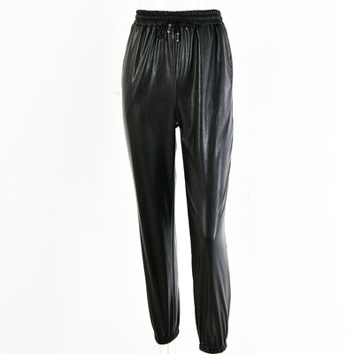 Articat Leather Harem Casual High Waist Elastic Faux Leather Trousers For Women Pants Streetwear
