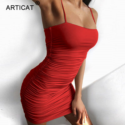 Articat Black Sexy Bodycon Strapless Spaghetti Strap Bandage Mini Dress