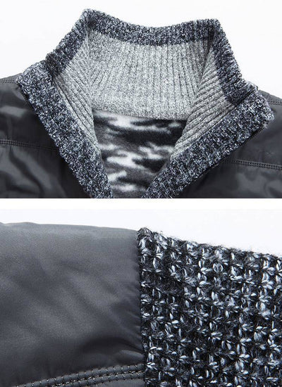 Autumn Winter Thick knit Jacket Slim Fit Stand Collar Zipper Jacket Solid Cotton Warm coat M-3XL