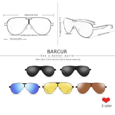 BARCUR Driving Polarized Sunglasses Brand Designer for Men Sports