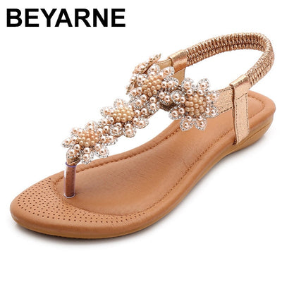 BEYARNESandals Bohemia Beach Sandals Crystal Casual Elastic Band Flat Open Toe Shoes Flip Flop